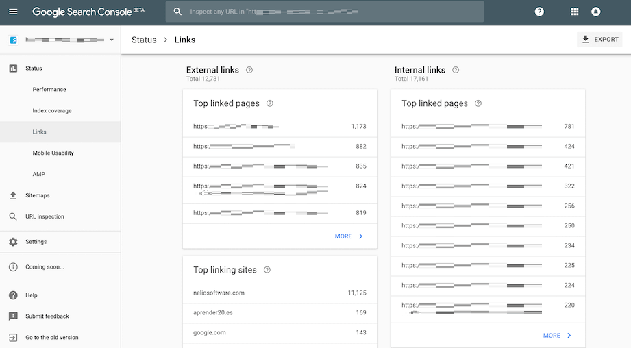 google search console links