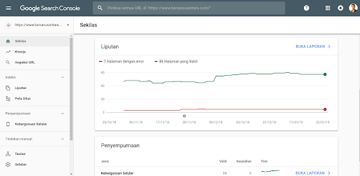 check the keyword rankings of the website with Google Search Console
