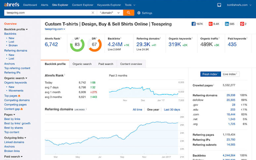 check the keyword rankings of the website with Ahrefs