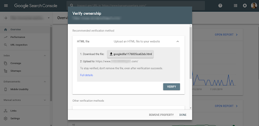 check the keyword rankings of the website with Google Search Console - verification step