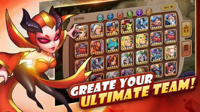 playing Idle Heroes - ultimate team