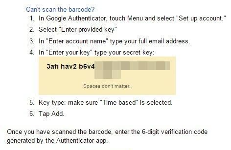 Copy the generated one-time password