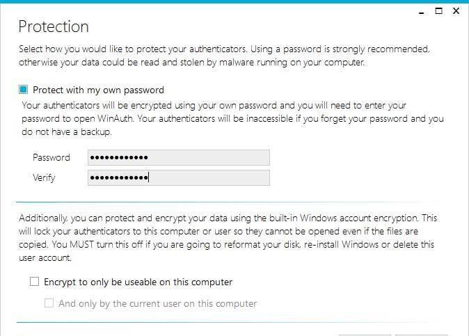 Set a password to encrypt saved files