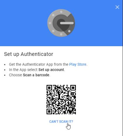 Google authenticator code scan